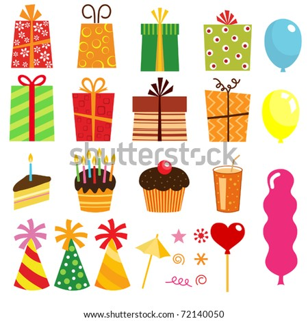gift set and other birthday elements - stock vector