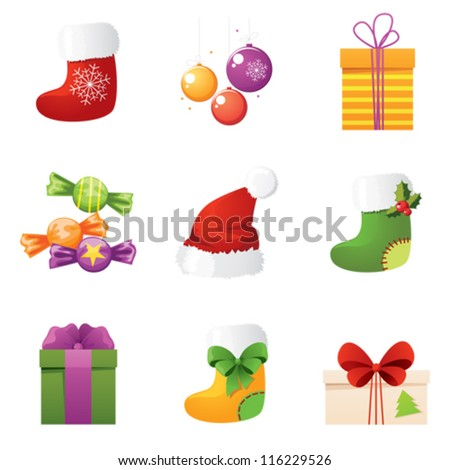 Gift set for New Year - stock vector