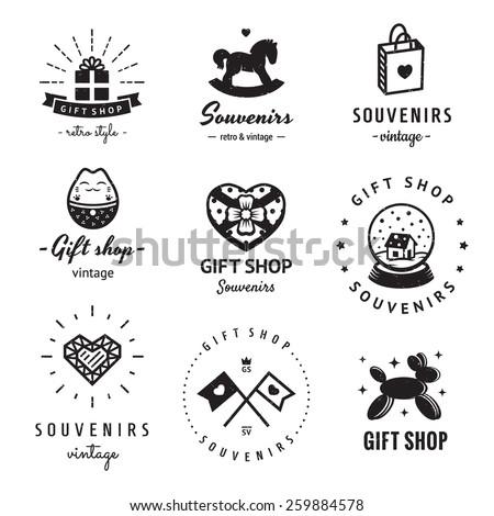 Gift Shop Souvenirs Logo Vintage Vector Stock Vector