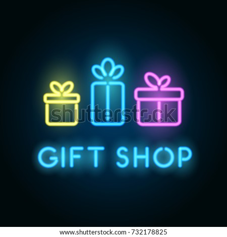 gift shop neon sign signboard storeのベクター画像素材 732178825