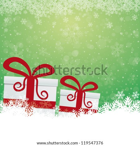 gift snowflake snow stars green white background - stock vector