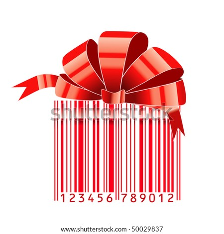 gift stylized with bar-code - stock vector
