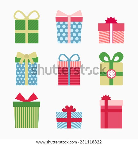 Gift symbol set, christmas gifts on white background - stock vector