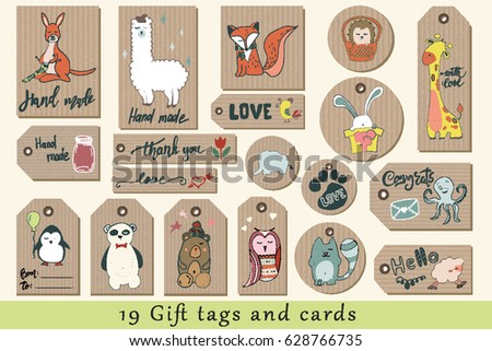 Gift tags cards labels stickers cute 628766735 gift tags cards labels and stickers with cute cartoon animals on craft paper negle Gallery