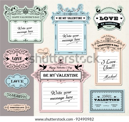 Gift tags design for Valentine's Day, Mother's Day, Birthday... - stock vector