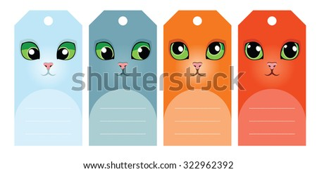 Gift tags with cute cat faces. Some blank space for your text included. - stock vector