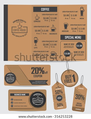 free meal coupon template - gift voucher certificate coupon food menu stock vector