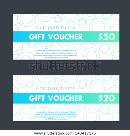 Gift Voucher Certificate Templates Aquamarine White Stock Vector