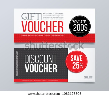 Gift Voucher Design Template Red Black Stock Photo (Photo, Vector ...