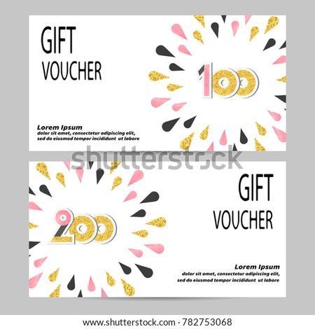 Gift voucher design golden black pink stock vector 782753068 gift voucher design with golden black and pink drops vector template for gift coupon saigontimesfo