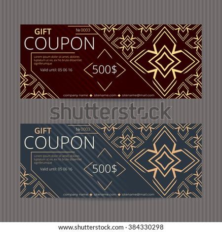 Gift Voucher Discount Card Template Stock Vector 384330298 ...