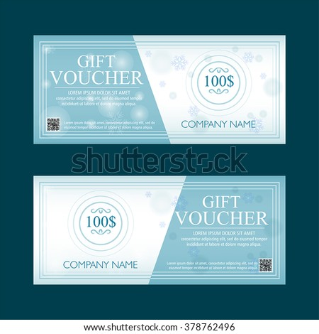 gift voucher 100 dollars with snowflakes winter motif, two flat design text labels, business holiday concept, vector - stock vector