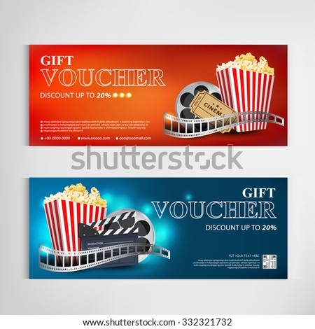 Gift Voucher Movie Template Modern Pattern Stock Vector 332321732