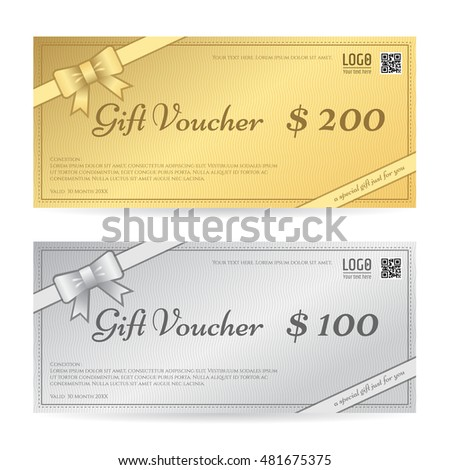 Gift Voucher Gift Certificate Template Ribbon Stock Vector 481675375