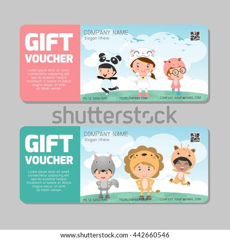 Gift voucher template colorful patterncute gift stock vector gift voucher template and modern pattern child concept voucher template with premium pattern yelopaper Gallery