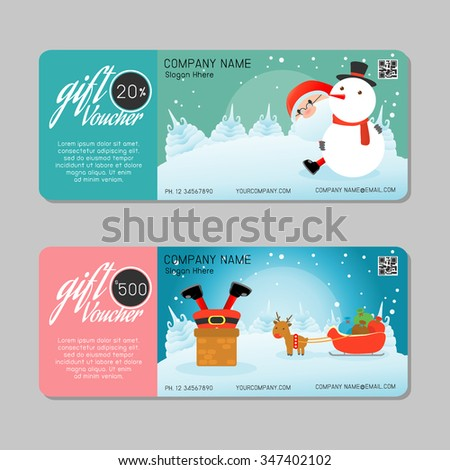 Gift voucher template and modern pattern. Voucher template with premium pattern, gift Voucher template with colorful pattern. Merry Christmas, Happy new year, bright concept. Vector illustration - stock vector