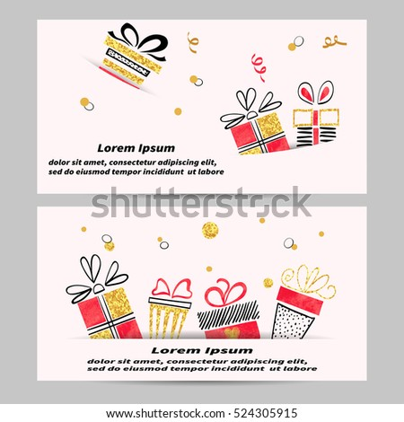 Gift voucher template design hand drawn stock vector 524305915 gift voucher template design with hand drawn gift boxes golden black and red doodle yelopaper Gallery
