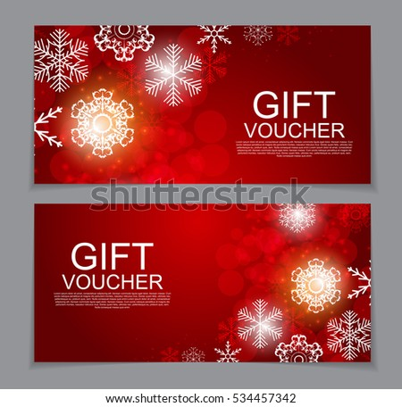 Gift Voucher Template Christmas New Year Stock Vector