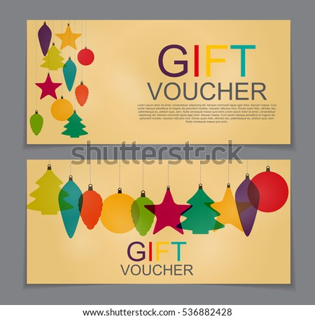 Gift Voucher Template For Christmas And New Year Discount Coupon Vector  Illustration EPS10  Free Christmas Voucher Template