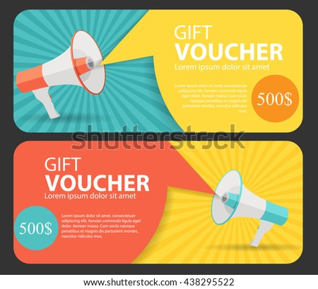 Gift Voucher Template For Your Business.  Megaphone and Speech Bubble. Vector Illustration EPS10 - stock vector