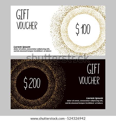 Gift Voucher Template Golden Black White Stock Vector Hd Royalty