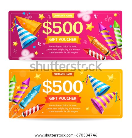 Set Colorful Gift Vouchers Retro 80s Stock Vector 482378971 ...