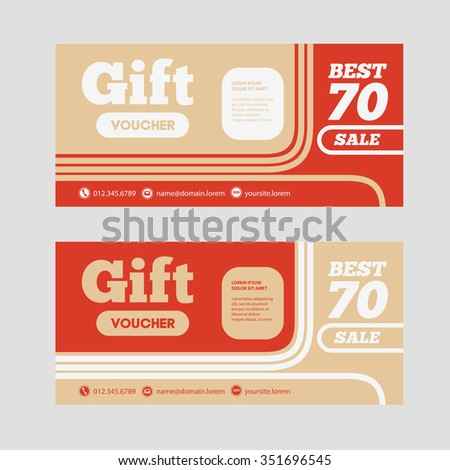 Gift Voucher Template With Amount Of Discount And Contact Information. For  Hotel, Restaurant,  Prize Voucher Template