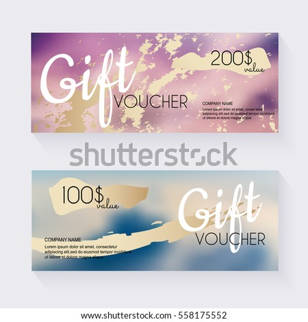 Gift Voucher Template Gold Pattern Certificate Vector – Coupon Voucher Template