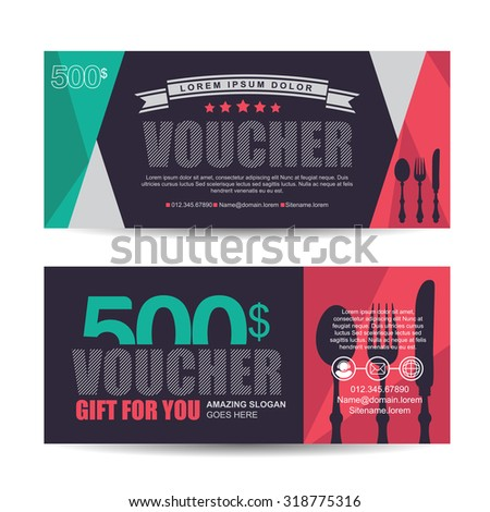 Gift voucher template with colorful pattern,italian restaurant,gift voucher certificate coupon design template,Collection gift certificate business card banner calling card poster,Vector illustration - stock vector