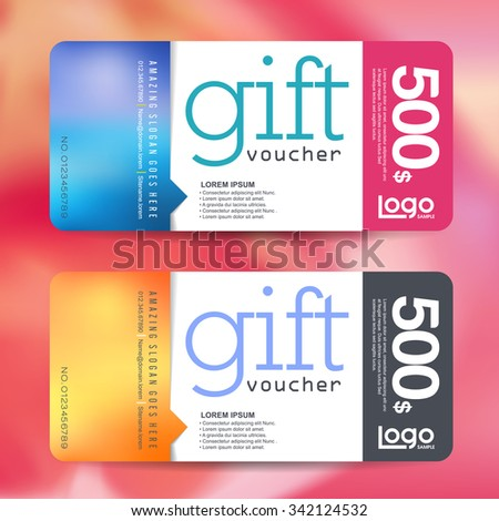 Gift voucher template with colorful pattern,Vector illustration - stock vector