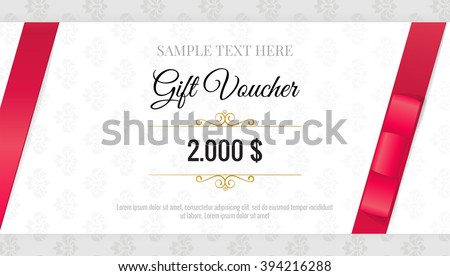 Gift Voucher Template Floral Pattern Red Stock Vector (2018 ...