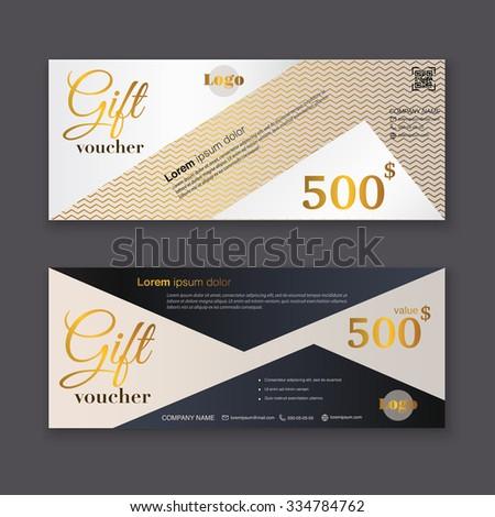 Gift Voucher Template Gold Pattern Certificate Stock Vector ...