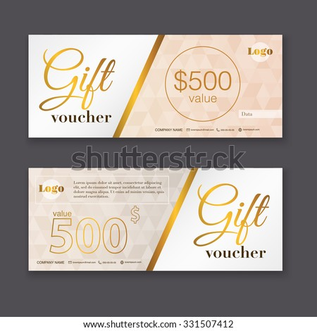 Gift voucher template with gold pattern, Gift certificate. Background design gift coupon, voucher, certificate, invitation, currency. Collection gift certificate. Vector illustration. - stock vector