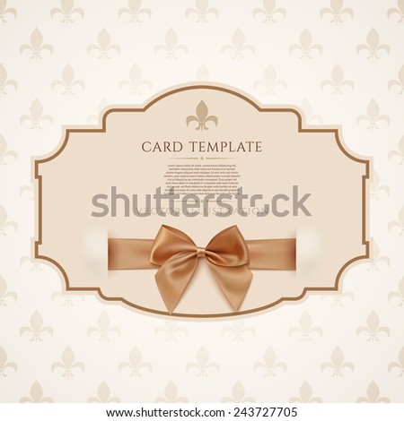 Gift Voucher Template With Golden Ribbon And A Bow Vector Illustration