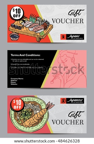 Gift Voucher Template Hand Drawn Japanese Stock Vector