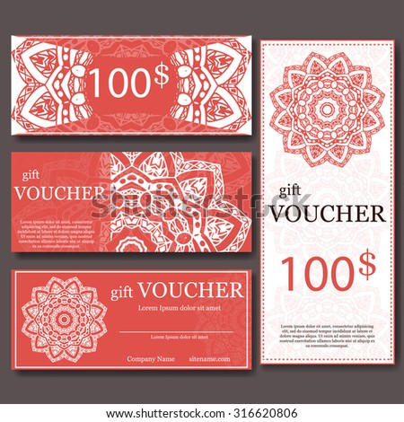 Yoga new year christmas gift card stock images royalty free gift voucher template with mandala design certificate for sport or yoga center magazine or stopboris Image collections