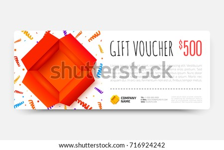 Gift Voucher Template Open Red Box Stock Vector Royalty Free