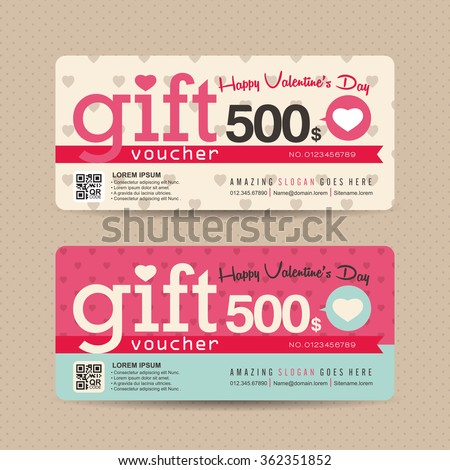 Gift voucher template with valentines day pattern,Vector illustration - stock vector