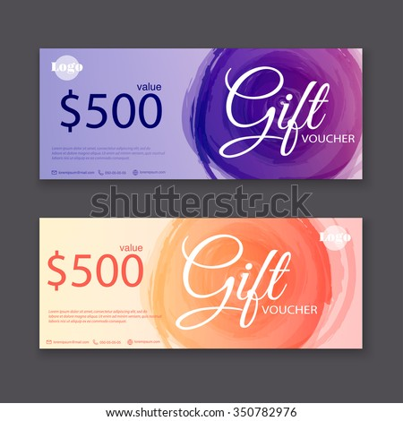 Gift voucher template with watercolor, Gift certificate.  - stock vector