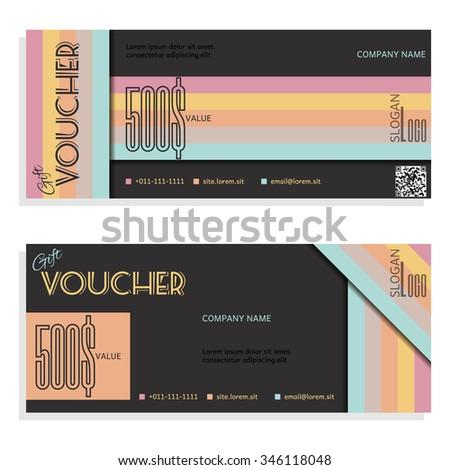 Gift Voucher Vector Illustration Card Template Stock Vector ...