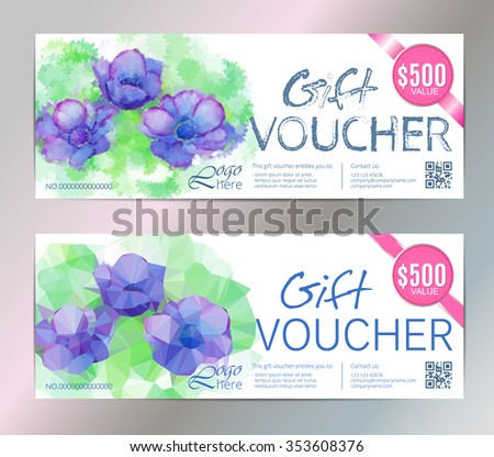 Gift voucher vector set beauty watercolor silver background. VIP backdrop pink flowers, for restaurant,  saloon, gallery, spa. - stock vector