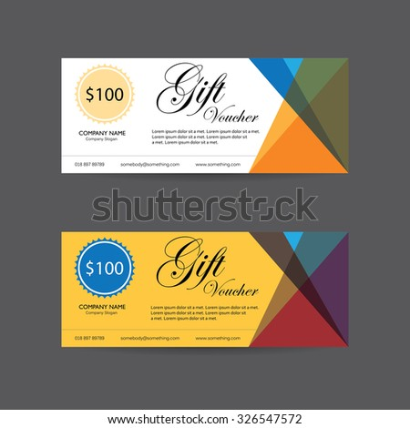 gift voucher vector template design with clean and modern pattern - stock vector