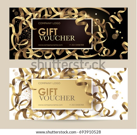 Gift voucher gold ribbons serpentine glitter gift voucher with gold ribbons serpentine and glitter christmas gift certificate vector template for negle Images