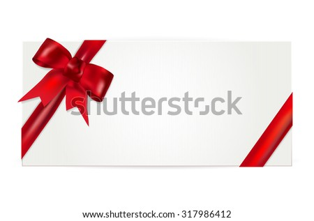 Gift voucher with red bow - isolated on white. Vector illustration. - stock vector