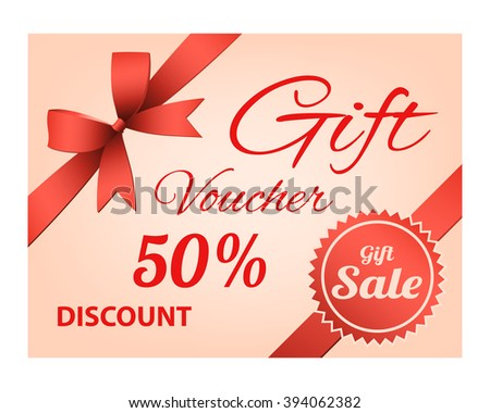 gift voucher with red ribbon on a bright pink background, design element for business, discount price. vector illustration - stock vector
