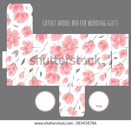 Gift wedding favor box template with nature pattern - abstract vector floral pattern sakura cherry blossom