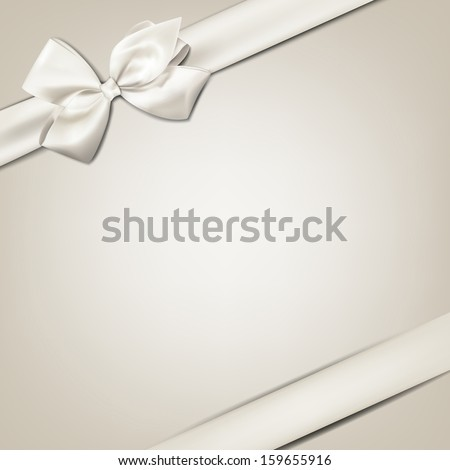 Gift white ribbon with bow over beige background. Vector illustration.  - stock vector
