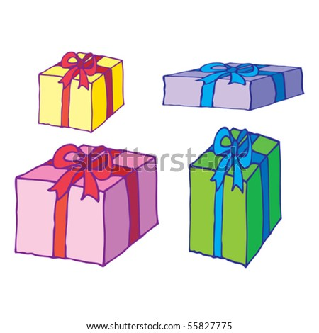 gifts are on the white background