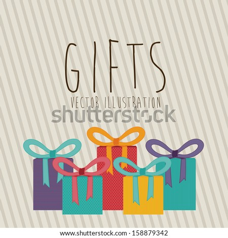 gifts design over lineal background vector illustration