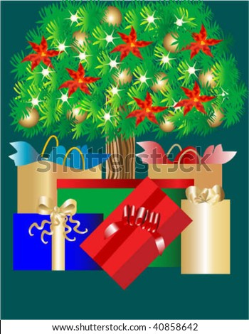 Gifts displayed under decorated christmas tree